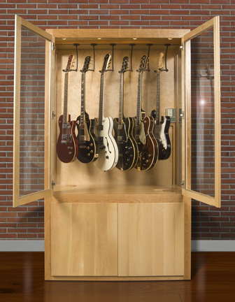 guitar collector display case cherry