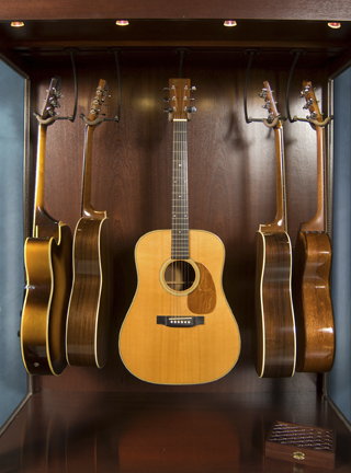 guitar display cabinet case mahogany